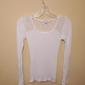 NWOT Delia's, long sleeve T with lace accent.